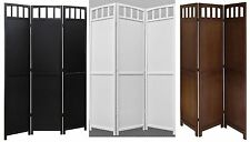 3 Panel Folding Screen Room Divider Solid Wood Black Walnut White 2-way Hinges