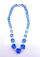 Art Deco Czech blue glass beads necklace.