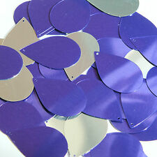 Purple Silver Metallic Sequins Teardrop 1.5 inch Large Couture Paillettes