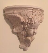 Cherub Angel Wall Shelf Off White Resin By Crown USA Vintage 1998 Victorian