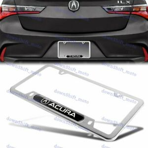 1PC For ACURA Silver BK Metal Stainless Steel License Plate Frame MDX RDX TSX TL