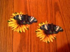 Pretty Butterflies On Flower - 2 - Iron-On Appliques (E)