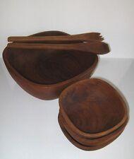 Teak Wood Bowl Set 6 Piece Pc Mid-Century Good Wood Genuine Salad Fruit