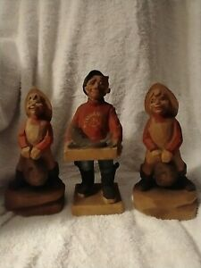 3 Vintage Hennings of Norway Hand Carved Figures Fisherman Boys with Halibut