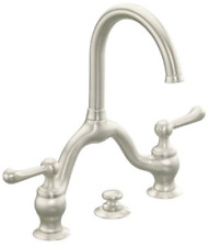 "RRP410 Kohler Lyntier 8"" Brushed Nickel Bathroom Tap faucet classic brass"