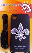 iPhone 4 4s BLACK  Rhinestone Fleur de lis with Adjustable Safety Neck Lanyard