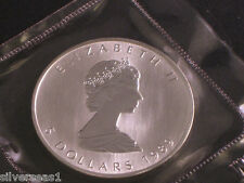 1989 CANADA MAPLE LEAF ROUND COIN RMC SEALED BRILLANT UNCIRCULATED $5.00 SILVER