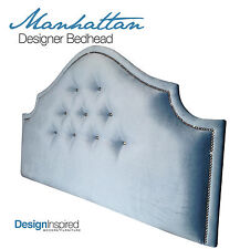 MANHATTAN DELUXE Upholstered Bedhead for King Single Ensemble - Wedgewood Blue