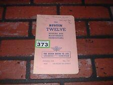 GENUINE AUSTIN TWELVE 12 RUNNING AND MAINTENANCE INSTRUCTION BOOK. 1946