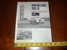 1962 MERCEDES BENZ 190-D DIESEL - ORIGINAL  ARTICLE/ ROAD TEST