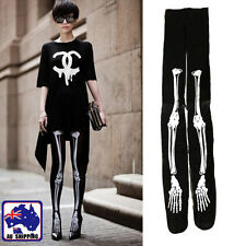 Women Skeleton Bone Skull Tights Black Punk Gothic Pantyhose Stocking CSOC41505