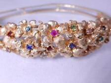 Elegant Gold Bangle Bracelet Solid 14K Gold Flowers  with Gems Hinged 20.8 Grams
