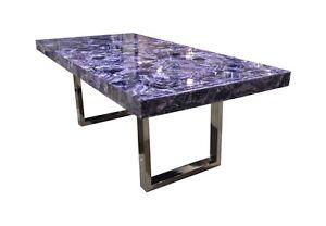 "79"" Long Purple Amethyst Dining Table Black Nickel Base Stone Crystal 798"