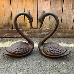 Vintage Cast Iron Swan Outdoor Garden Lawn Patio Pond Statue Sculpture Ornaments