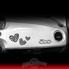 Adesivo FIAT 500 - HEART LEOPARD sticker NERO CUORI plancia cruscotto 30