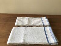 "NEW Kitchen Towels- Set 2 -White Blue -100% Turkish Cotton-High Quality  29""x20"""