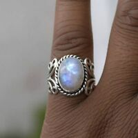 Boho Tibetan Natural Gemstone 925 Silver Oval Rainbow Moonstone Ring Jewelry YK