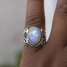 Boho Tibetan Natural Gemstone 925 Silver Oval Rainbow Moonstone Ring Jewelry YK
