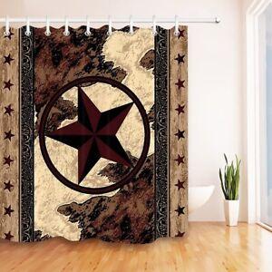 Texas Star Shower Curtain Western Rustic Bathroom Decor Waterproof  Hooks New