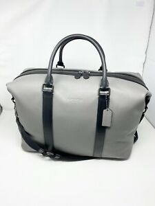 COACH F54765 Voyager Duffle Overnight Travel Bag Men's Leather Heather Grey NWT