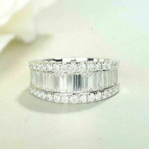 Iced Half Eternity Wedding Band 5ct Baguette Round Diamond 14k White Gold Over