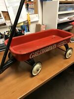 Vintage HAMILTON GREYHOUND Red Wagon Pull Toy Lifetime Bearings circa 1950