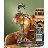 "Medieval Dragon Strike Illuminated Sculpture 16½"" Hand Painted Gothic Table Lamp"