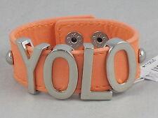 BCBG Generation Silvertone Peach YOLO Big Pastel Affirmation Bracelet