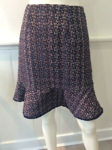 Monsoon navy blue pat fish tail skirt size uk 10 chanel look/style