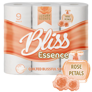 108 Rolls x 3ply Bliss Essence Embossed Luxury Toilet Tissue Scented ROSE PETAL