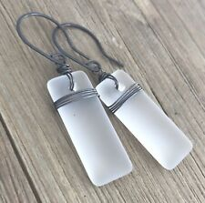 Min Favorit Frost White Recycled Sea Glass Earrings With Black Iron Wire Wrap