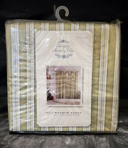 "Simply Shabby Chic Curtain 54"" x 84"" Green Blue Stripe One Panel Rod Pocket New"