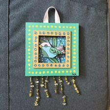 Folk Art ORIGINAL Mixed Media Framed Bird Leaf 3D Beads Wood Gem Whimsical