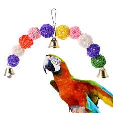 Bird Parrot Chew Toys Bite Rattan Teeth Grinding Ball Bell Parakeet Stand Toys