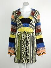 Free People Patchwork Sweater Dress V-Neck Bell Sleeve Tie-Belt Multi XS New