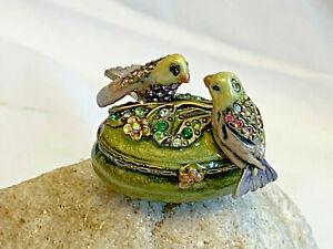 Jay Strongwater Birds Parakeet Swarovski Crystal Signed Enamel Trinket Box