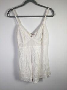 Tigerlily womens white playsuit romper size 10 sleeveless viscose/cotton