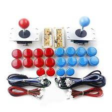 "DIY Arcade USB Encoder Joystick Kit 24mm 0,94 ""Rot & Blau Tasten ABS Kunststoff"