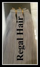 "20""HUMAN WEAVE 100G #SILVER/GREY BEAUTIFUL INDIAN REMY WEFT HAIR UK SELLER"