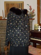 Women's Carole Little Polka Dotted All Weather Jacket Coat W/ Fox Fur Collar SML