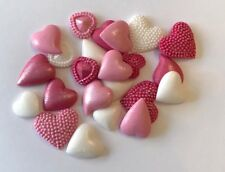 24 WHITE & PINK MIXED HEARTS VALENTINES WEDDING EDIBLE ICING CAKE TOPPERS