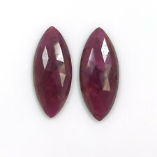 33.50cts Natural Untreated RED RUBY Gemstone Rose Cut Slices Marquise 30*13mm