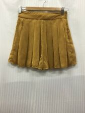 Mossman 6 Yellow Mustard / Gold Bronze Flared Pleated Mini Skirt Shorts Skorts