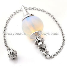 1 Opalite Pendulum Divination Healing Point Chakra Ball Bead Wicca Chain Pendant