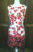 Chaps Women's Summer Party Dress Size 14 Sleeveless Boat Neck White Red Black