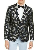 INC Mens Blazer Blue Black Size XL Floral Metallic Jacquard Slim Fit $149 025