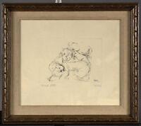 EDNA HIBEL - Vintage Framed Etching - Mother & Baby - First State