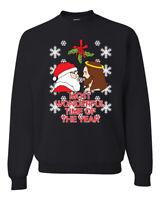 Santa Jesus Offensive Mistletoe Mens Womens Ugly Christmas Sweater Crewneck