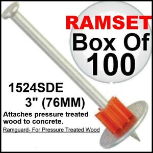 Ramset Powder Fastening Systems1524SDE 3-Inch Washer Pins with Ramguard 100 Pack