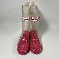 American Girl Wellie Wishers Peekaboo Clear Rain Boots Size 10/11